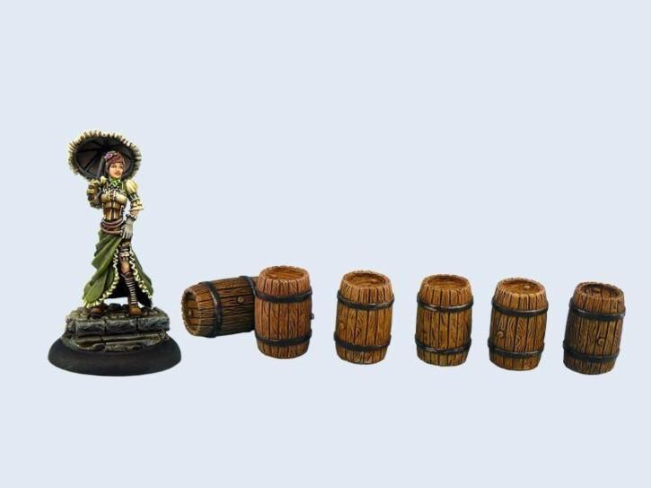 MICRO ART: Small Wodden Barrels (6)