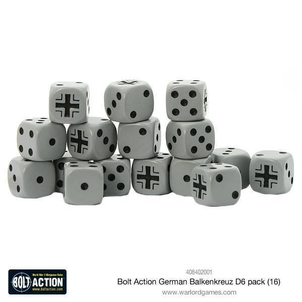 BOLT ACTION: German Balkenkreuz D6 Dice (16)