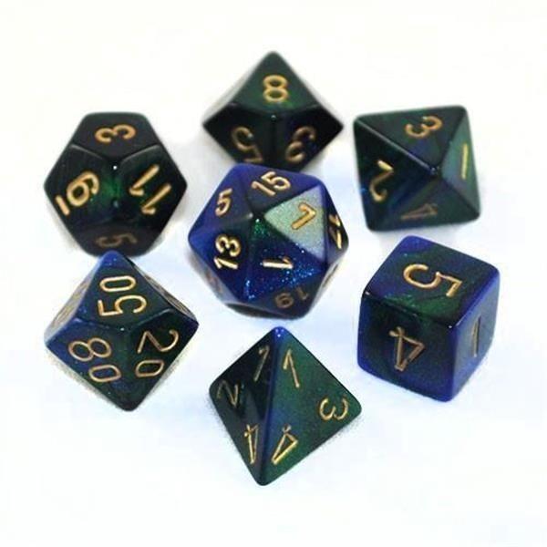 CHESSEX: Gemini Blau-Grün/Gold 7-Würfel RPG Set