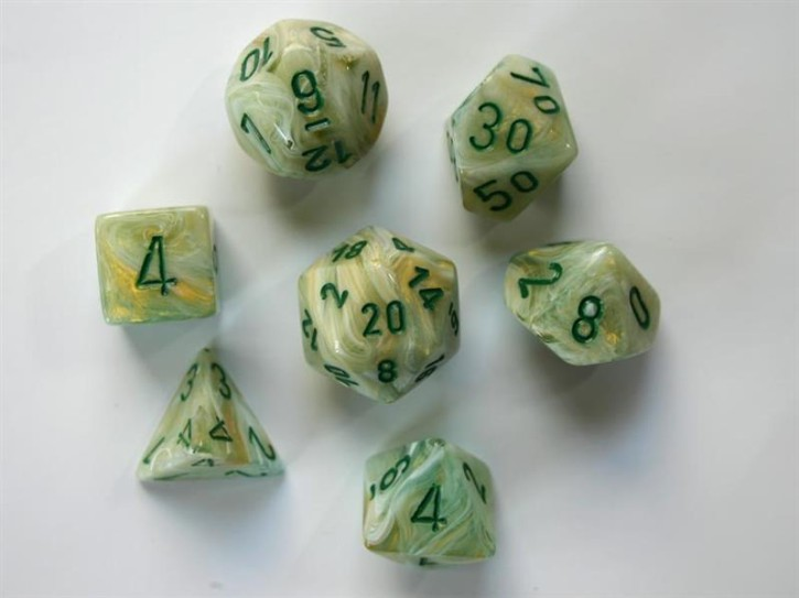 CHESSEX: Marble Grün/Dunkelgrün 7-Würfel RPG Set