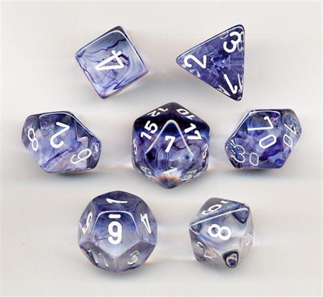 CHESSEX: Nebula Schwarz/Weiß 7-Würfel RPG Set