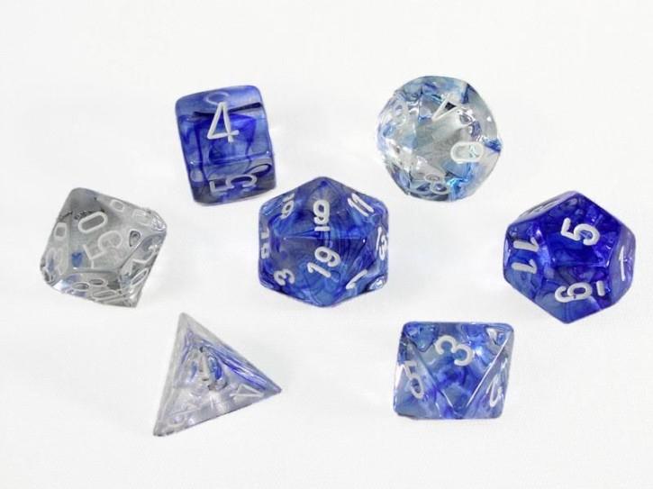 CHESSEX: Nebula Dunkelblau/Weiß 7-Würfel RPG Set