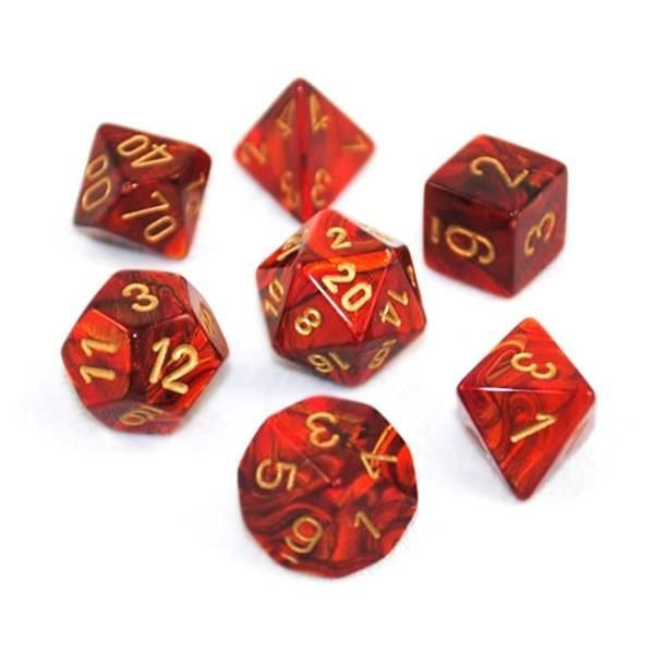 CHESSEX: Scarab Scharlachrot/Gold 7-Würfel RPG Set