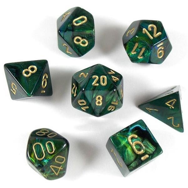 CHESSEX: Scarab Jade/Gold 7-Würfel RPG Set