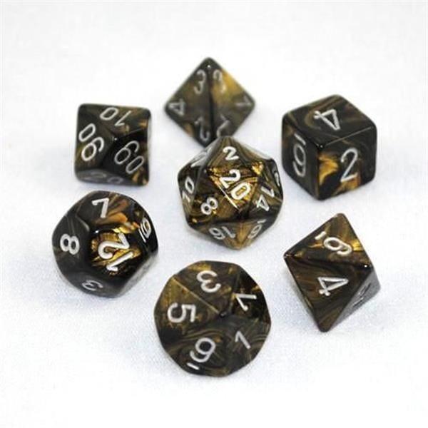 CHESSEX: Leaf Schwarz-Gold/Silber 7-Würfel RPG Set
