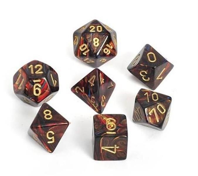 CHESSEX: Scarab Blue-Blood/Gold 7-Die RPG Set