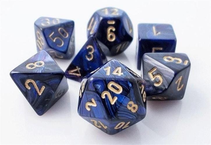 CHESSEX: Scarab Königliches Blau/Gold 7-Würfel RPG Set