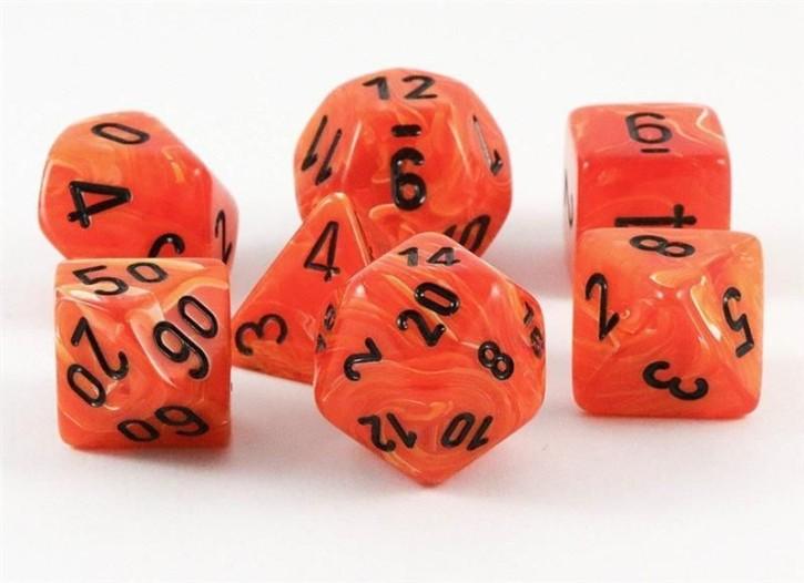 CHESSEX: Vortex Orange/Schwarz 7-Würfel RPG Set
