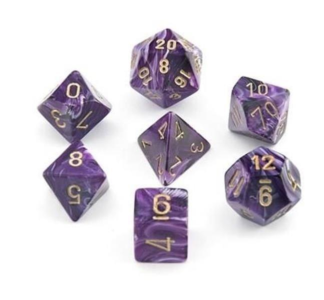 CHESSEX: Vortex Purple/Gold 7-Die RPG Set