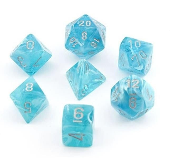 CHESSEX: Cirrus Aqua/Silver 7-Die RPG Set