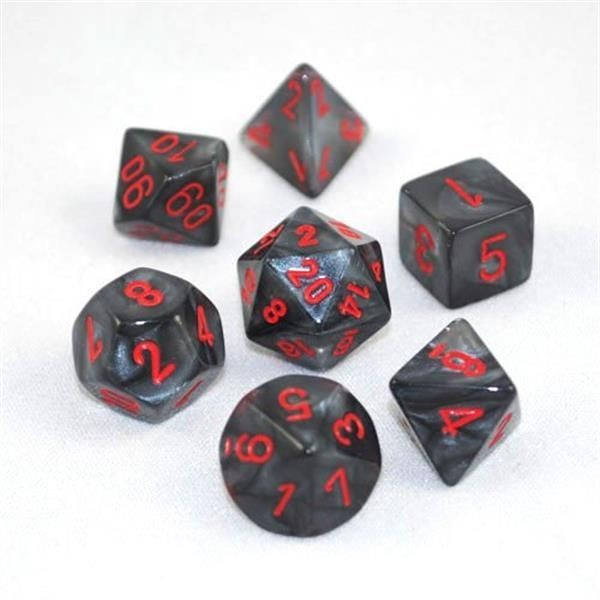 CHESSEX: Velvet Schwarz/Rot 7-Würfel RPG Set