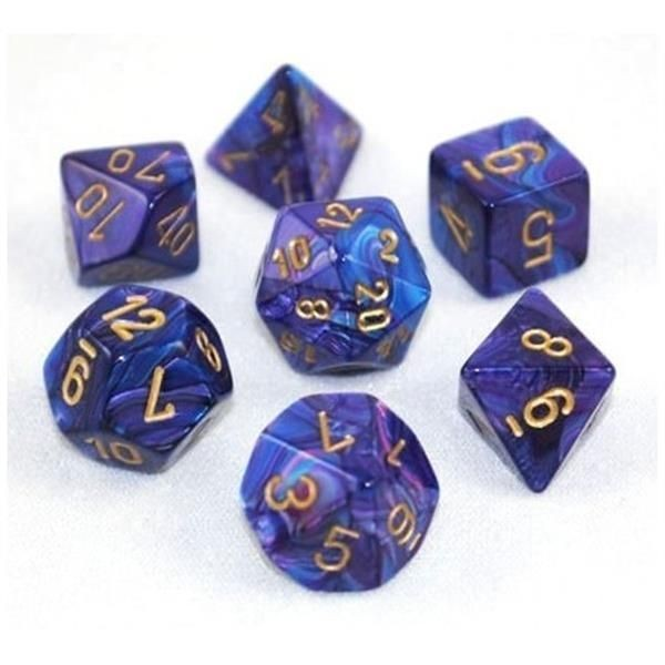 CHESSEX: Lustrous Violett/Gold 7-Würfel RPG Set