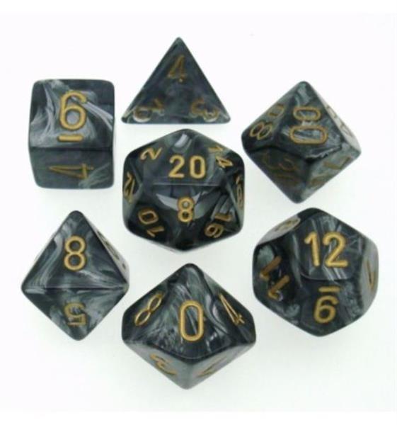 CHESSEX: Lustrous Schwarz/Gold 7-Würfel RPG Set