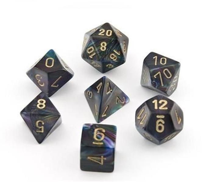 CHESSEX: Lustrous Shadow/Gold 7-Die RPG Set