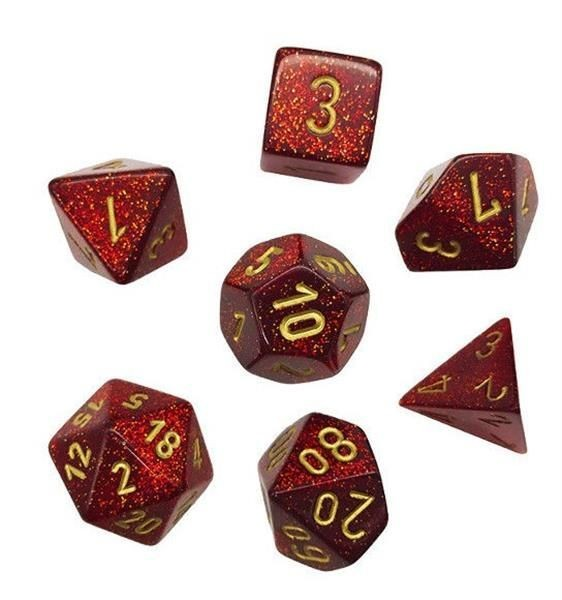 CHESSEX: Glitter Rubin/Gold 7-Würfel RPG Set