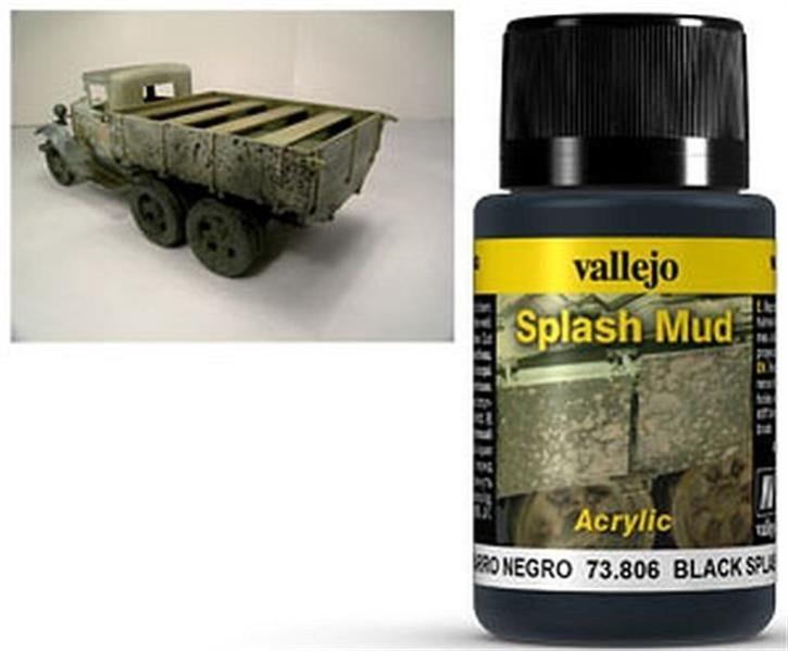 VALLEJO WEATHERING: Splash Mud Black (40ml)