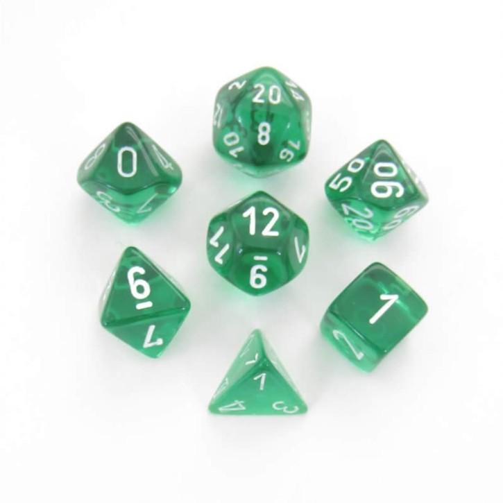 CHESSEX: Translucent Green/White 7-Die RPG Set