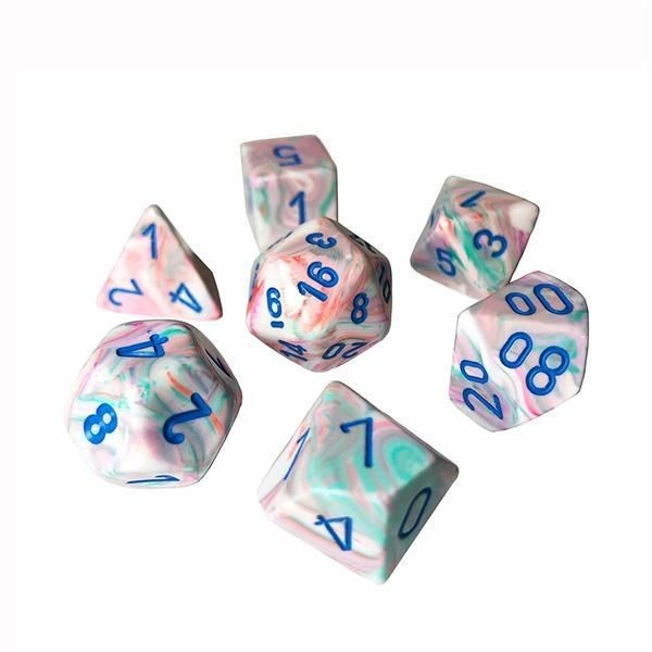 CHESSEX: Festive Pop Art Weiß/Blau 7-Würfel RPG Set