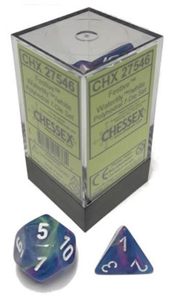 CHESSEX: Festive Waterlily White/White 7-Die RPG Set