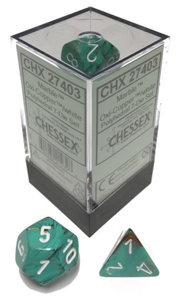 CHESSEX: Marble Oxi-Kupfer 7-Würfel RPG Set