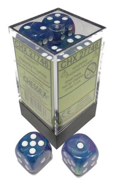 CHESSEX: Festive Waterlily White/White 12 x 6 sided Diceset