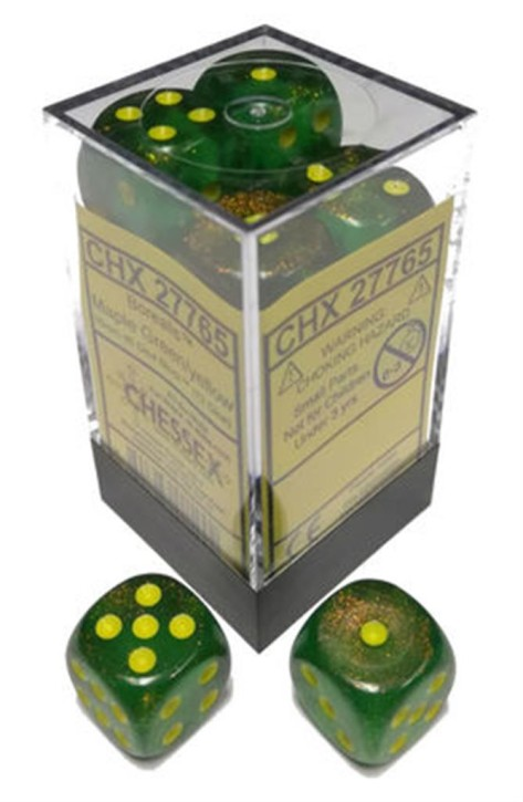 CHESSEX: Borealis Maple Green/Yellow 12 x 6 sided Diceset