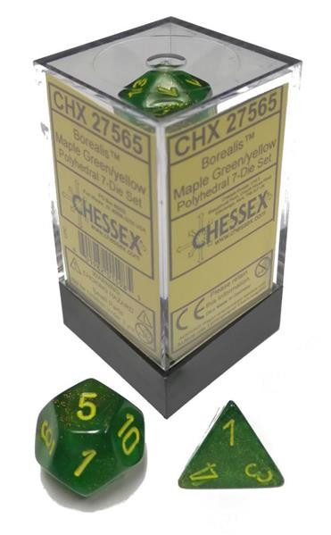 CHESSEX: Borealis Maple Green/Yellow 7-Die RPG Set