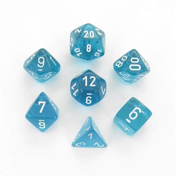 CHESSEX: Translucent Teal/White 7-Die RPG Set