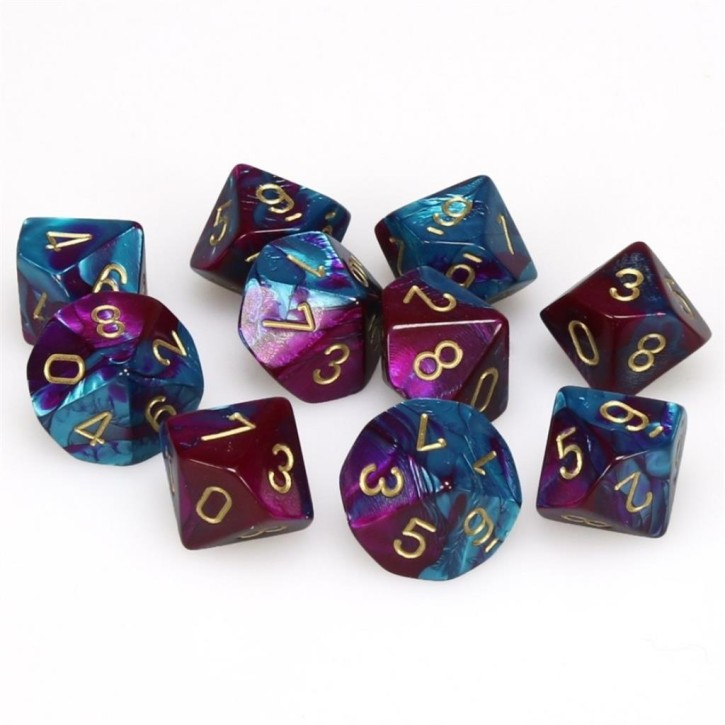 CHESSEX: Gemini Purple-Teal/Gold 10 x 10 sided Diceset