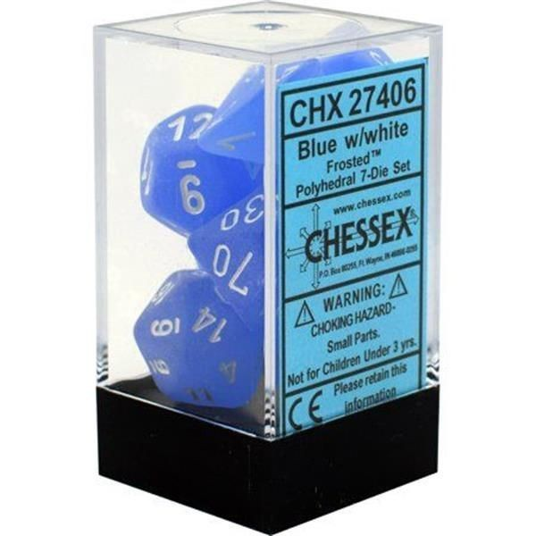 CHESSEX: Frosted Blue/White 7-Die RPG Set