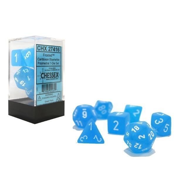 CHESSEX: Frosted Karibik Blau/Weiß 7-Würfel RPG Set