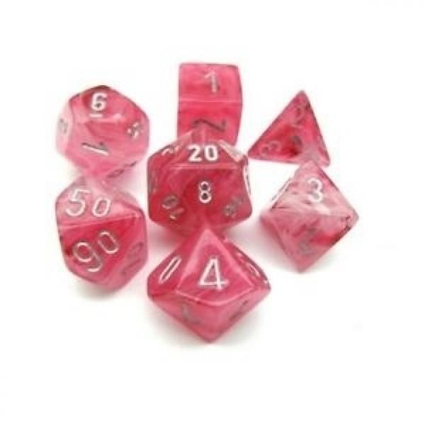 CHESSEX: Ghostly Glow Pink/Silber 7-Würfel RPG Set