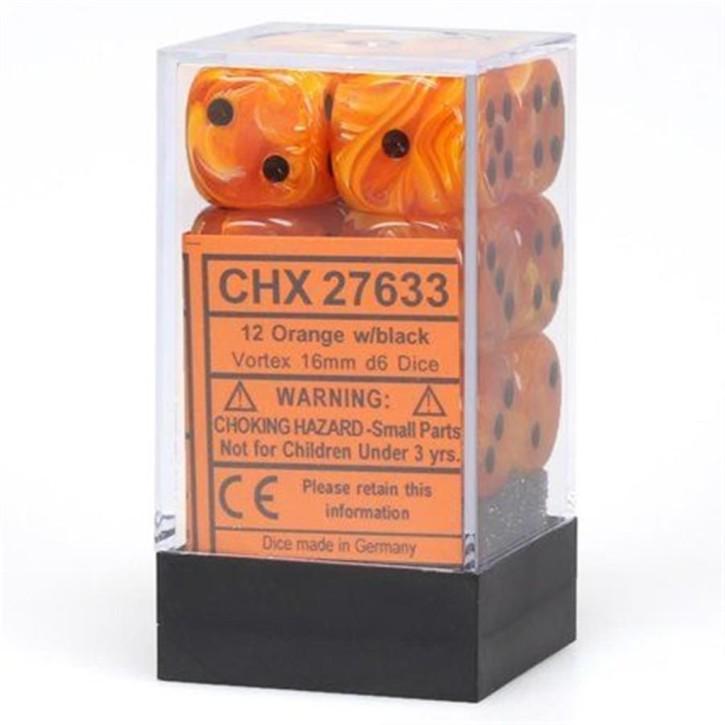 CHESSEX: Vortex Orange/Black 12 x 6 sided Diceset