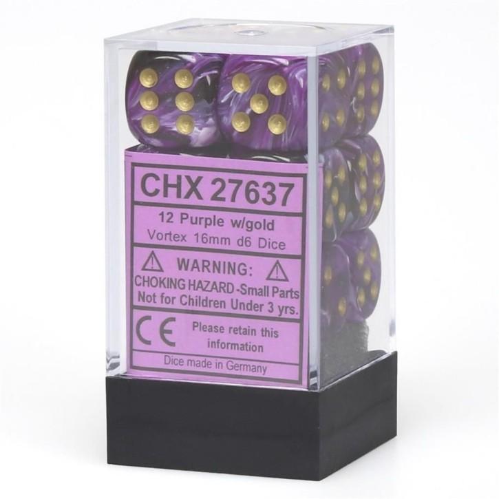 CHESSEX: Vortex Purple/Gold 12 x 6 sided Diceset