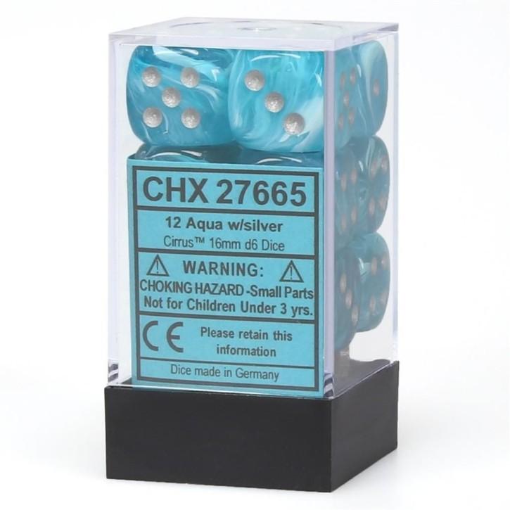 CHESSEX: Cirrus Aqua/Silver 12 x 6 sided Diceset