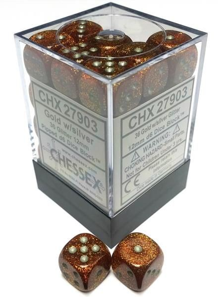 CHESSEX: Glitter Polyhedral Gold/Silver 36 x 6 sided Diceset