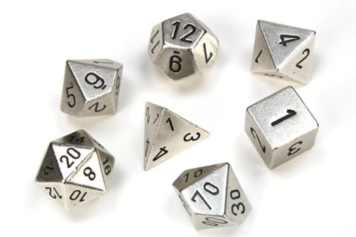 CHESSEX: Solid Metal Silver 7-Die RPG Set