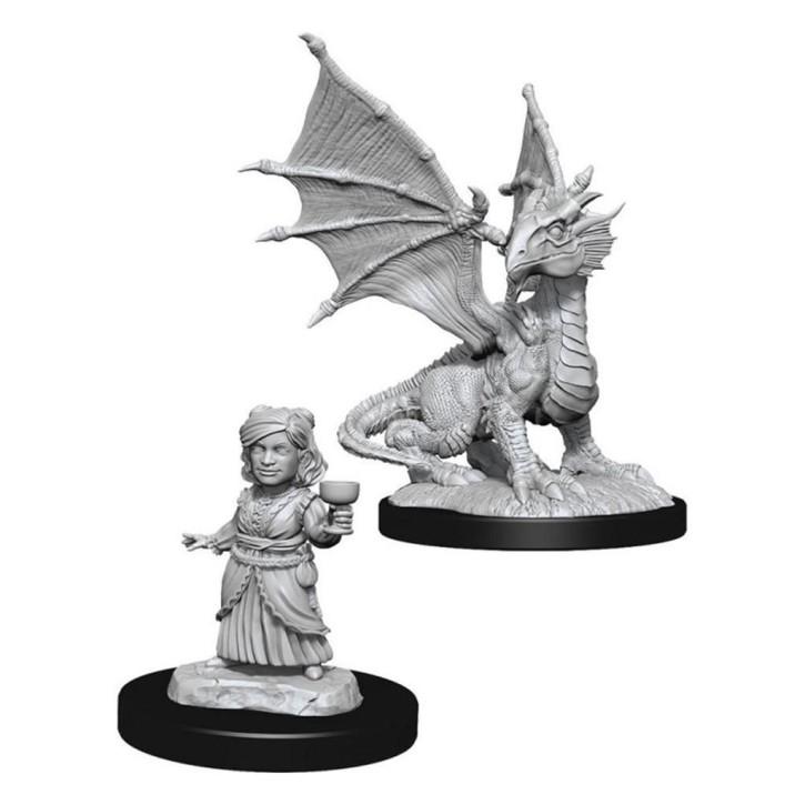 D&D MARVELOUS MINIS: Silver Dragon Wyrmling & Female Halfli.