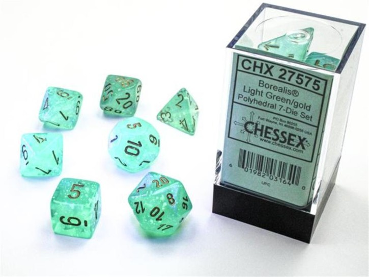 CHESSEX: Borealis Light Green/Gold 7-Die RPG Set