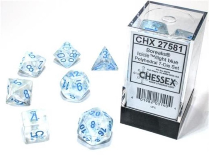 CHESSEX: Borealis Icicle/Light Blue 7-Die RPG Set