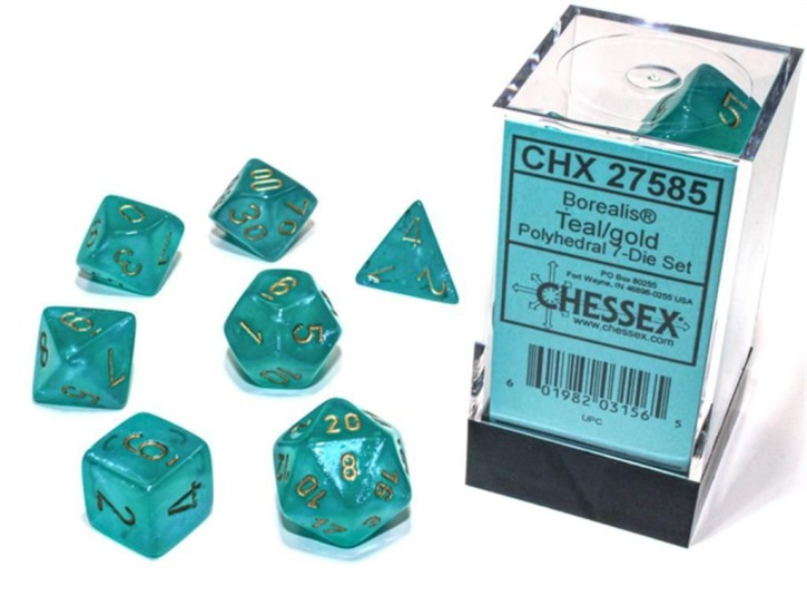 CHESSEX: Borealis Teal/Gold 7-Die RPG Set