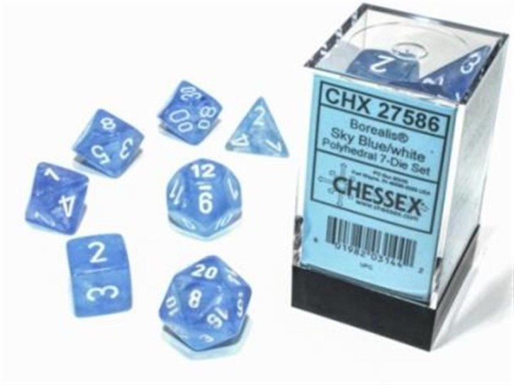 CHESSEX: Borealis Sky Blue/White 7-Die RPG Set