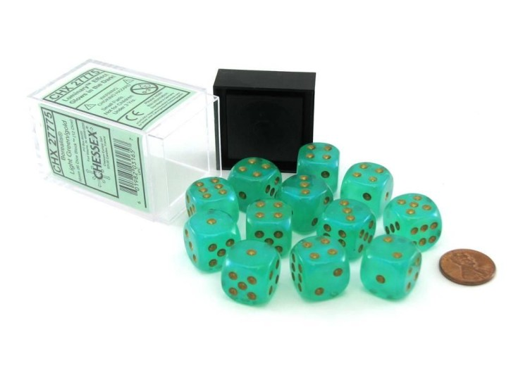 CHESSEX: Borealis Light Green/gold 12x6 sided Diceset
