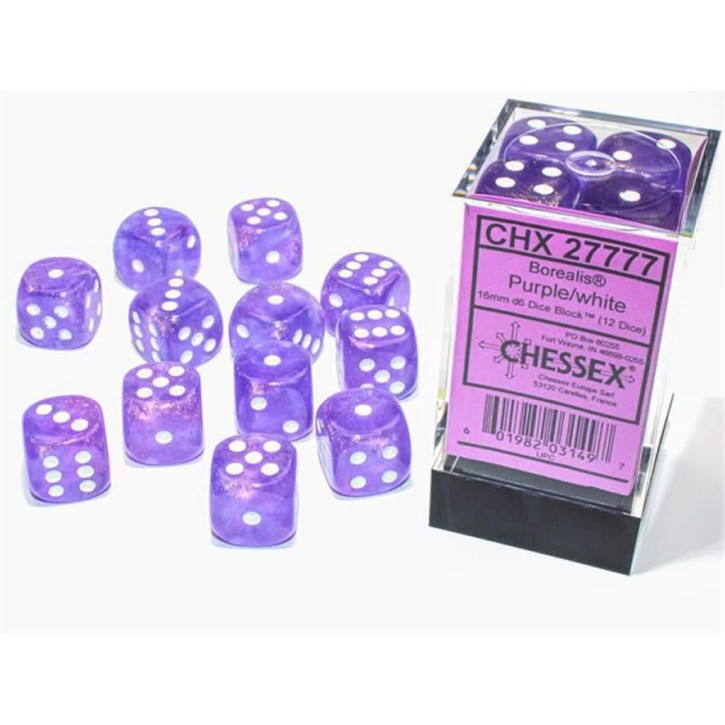 CHESSEX: Borealis Purple/white 12x6 sided Diceset