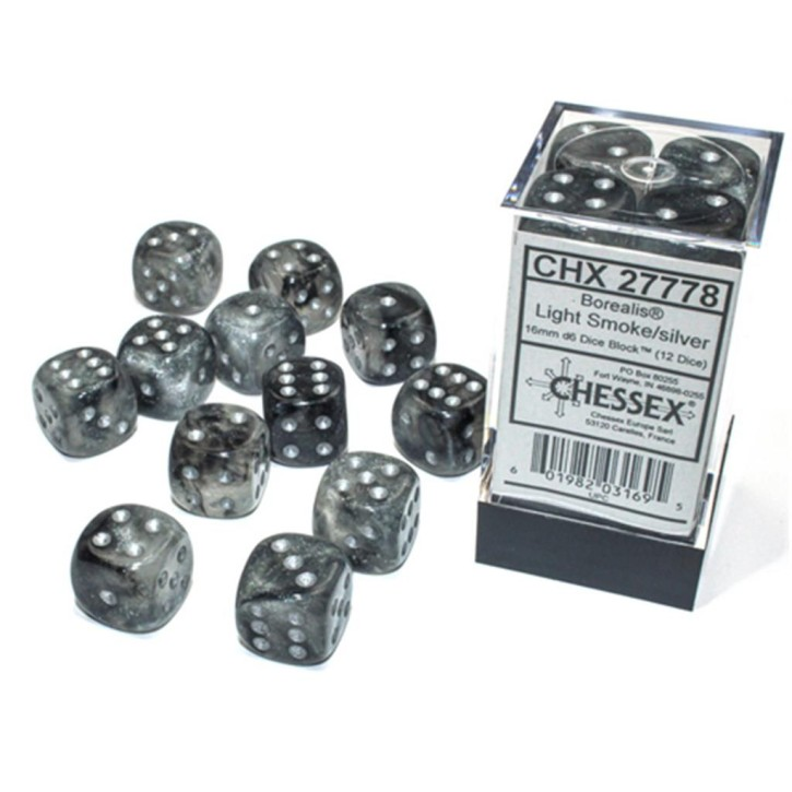 CHESSEX: Borealis Smoke/Silver 12x6 sided Diceset