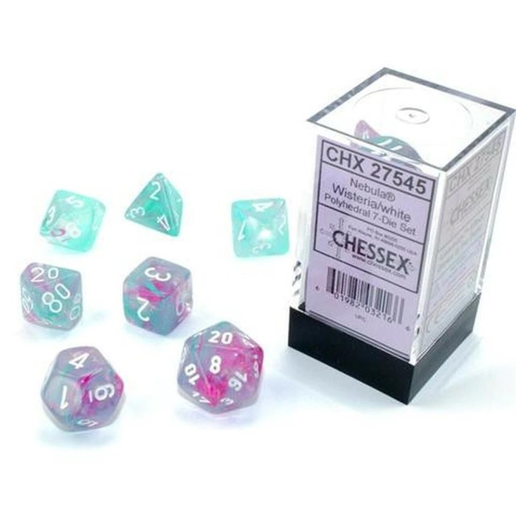 CHESSEX: Nebula Wisteria/White 7-Die RPG Set