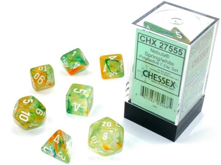 CHESSEX: Nebula Spring/White 7-Die RPG Set