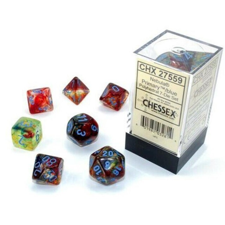 CHESSEX: Nebula Primary/Blue 7-Die RPG Set