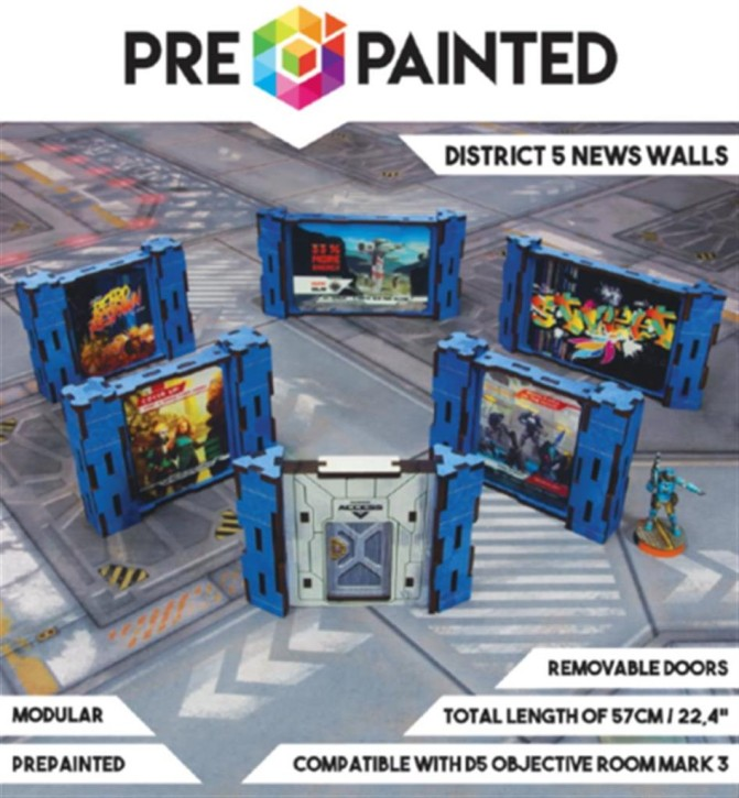 MICRO ART: District 5 News Walls (6) PREPAINTED (blue)