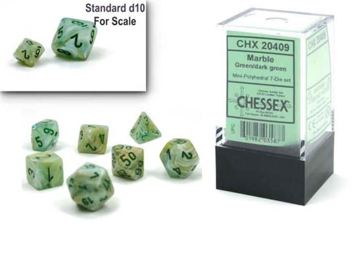 CHESSEX: Marble Mini Green/Dark Green 7-Die RPG Set